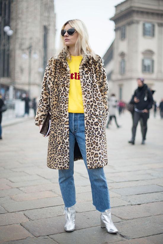 Model in leopard coat