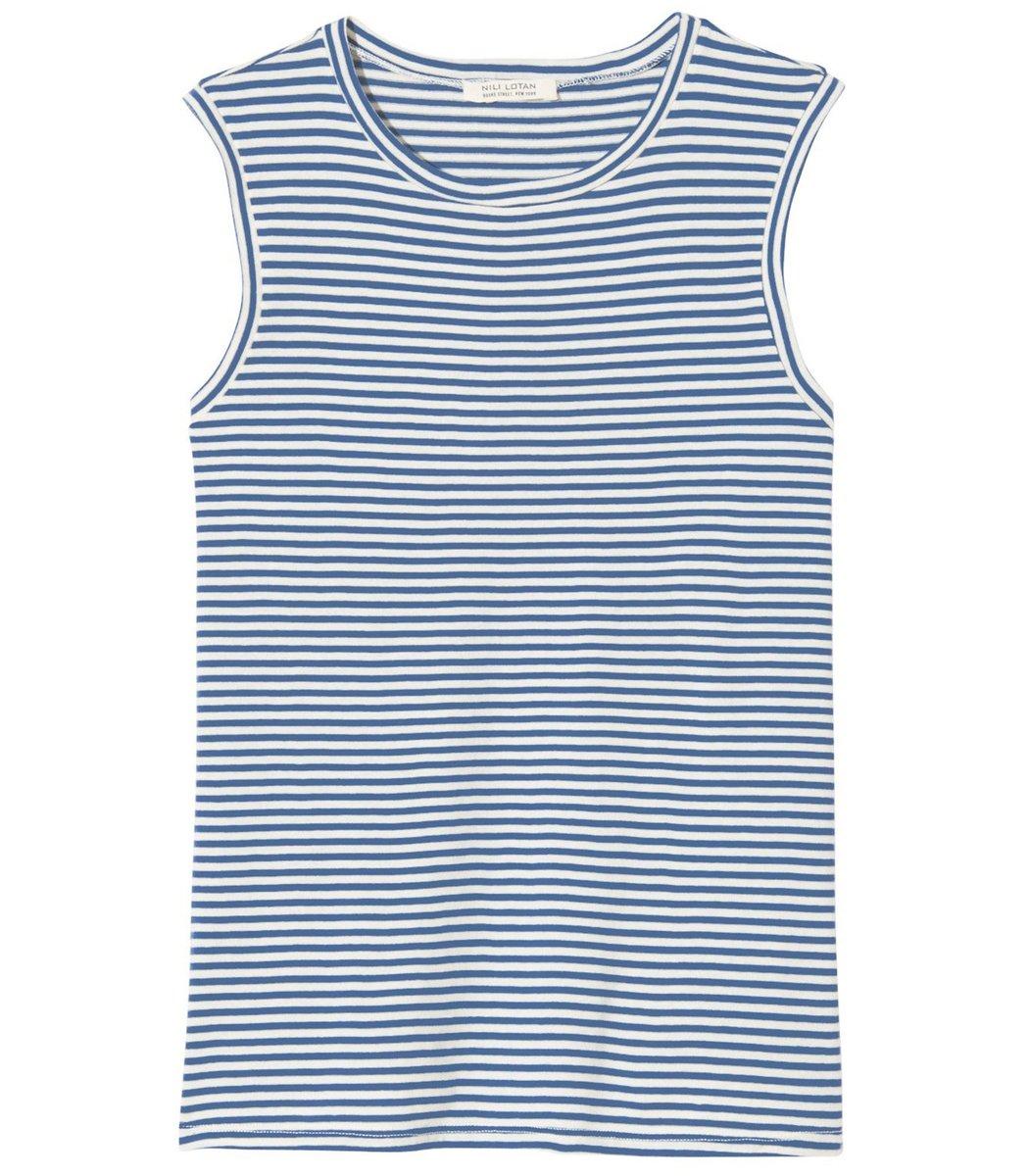 Nili Lotan Muscle Tee in Sail Blue/White Stripe