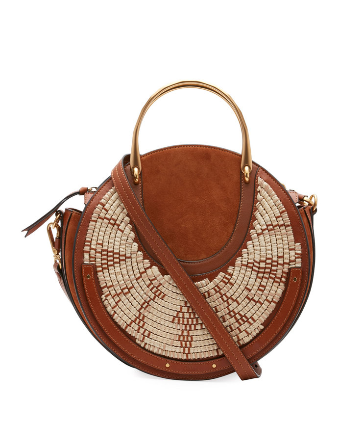 pixie medium round leather shoulder bag