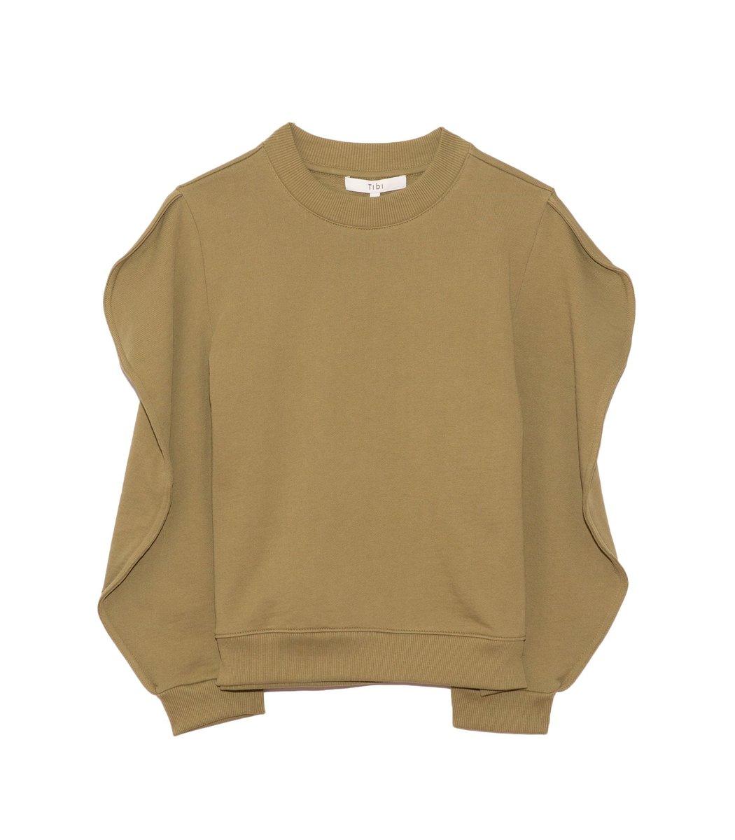 Tibi Cottons Scallop Sweatshirt in Moss