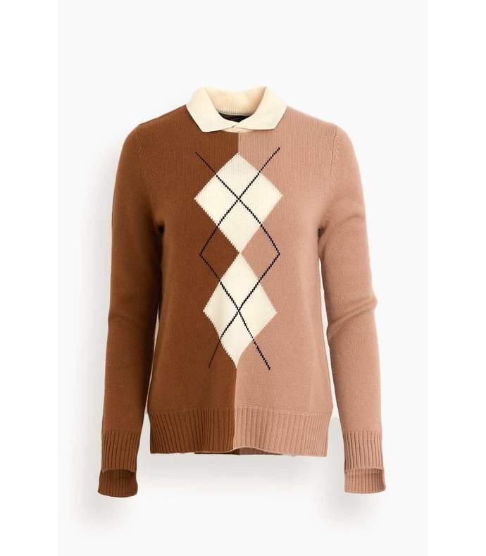 fiona sweater in vicuna argyle