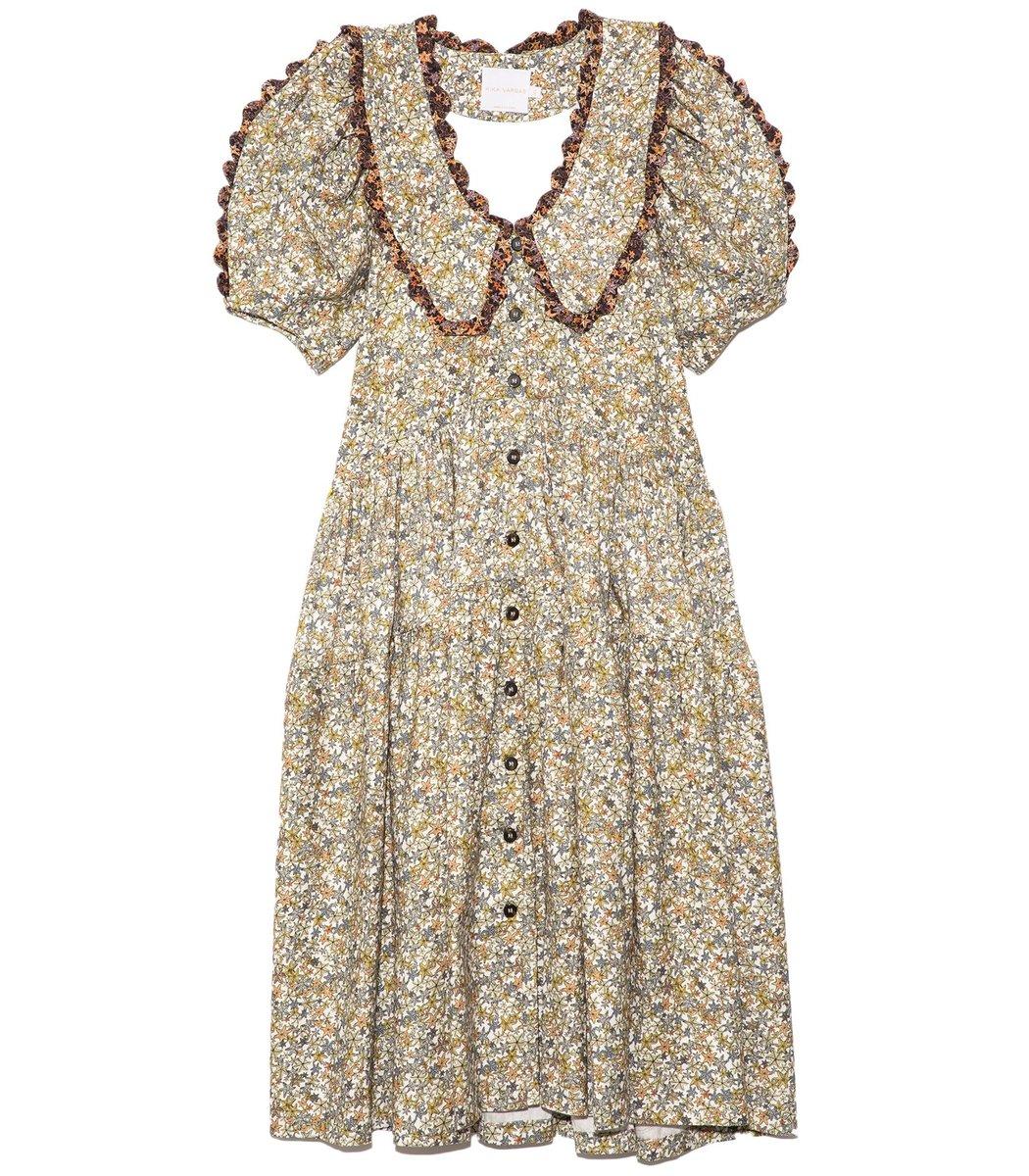 Kika Vargas Midi dresses Greta Scoop Neck Dress in Green Stars