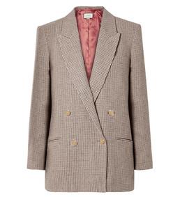 houndstooth checked linen blazer