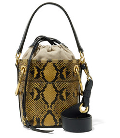 roy mini snake-effect leather bucket bag