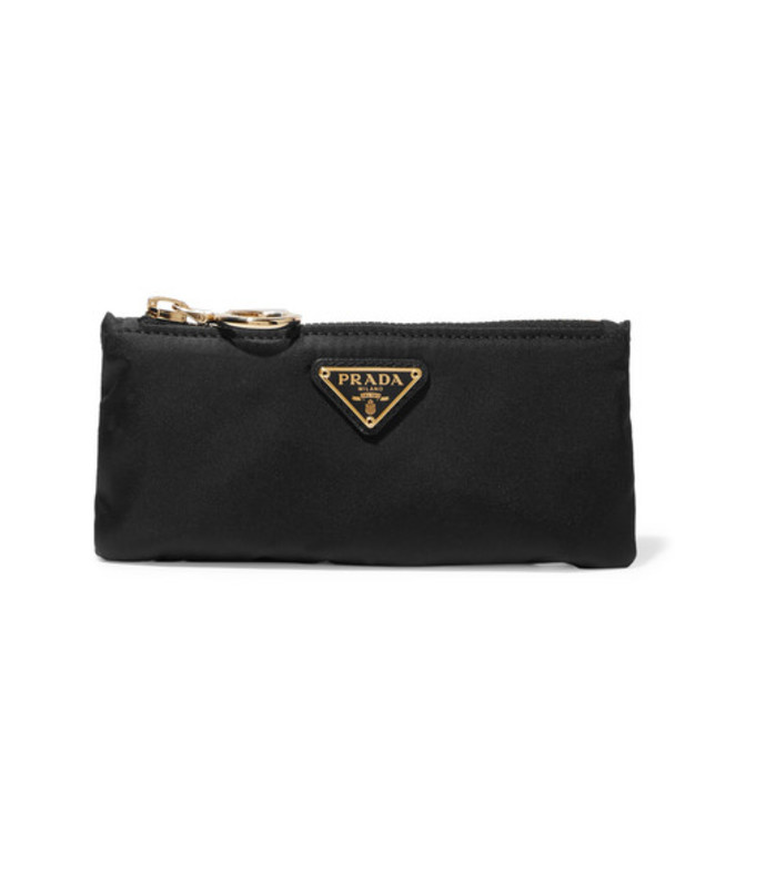 leather-trimmed shell cosmetics case