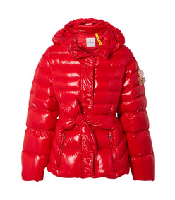 embellished belted glossed-shell down jacket