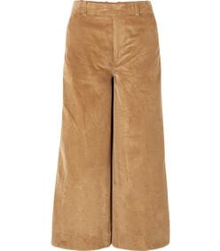 oakley cropped cotton-corduroy wide-leg pants