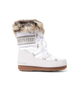 monaco faux fur-lined shell and faux leather snow boots