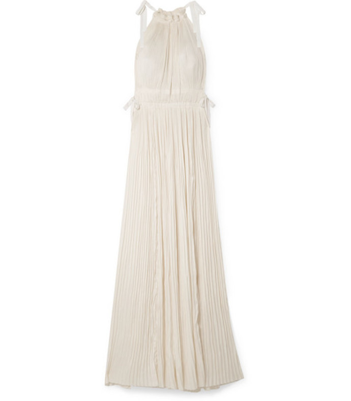 augustine plissé satin maxi dress