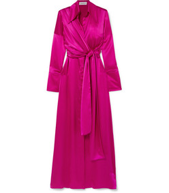 tie-detailed silk-satin maxi dress