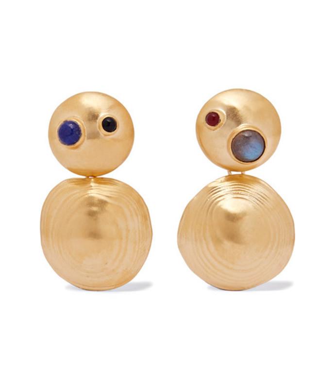 gold-tone multi-stone earrings