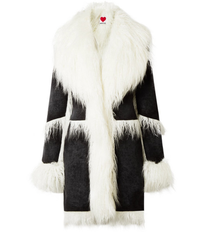 6b64efe713325 House Of Fluff. Faux Shearling-Trimmed Velvet Coat