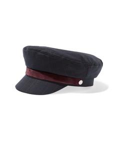velvet-trimmed checked tweed cap