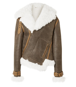 asymmetric shearling and textured-leather biker jacket