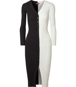 shoko two-tone ribbed-knit dress
