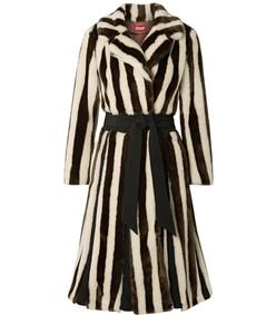 bungalow belted striped faux fur coat