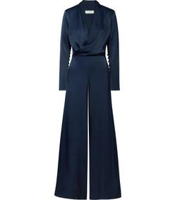 the tina wrap-effect satin jumpsuit