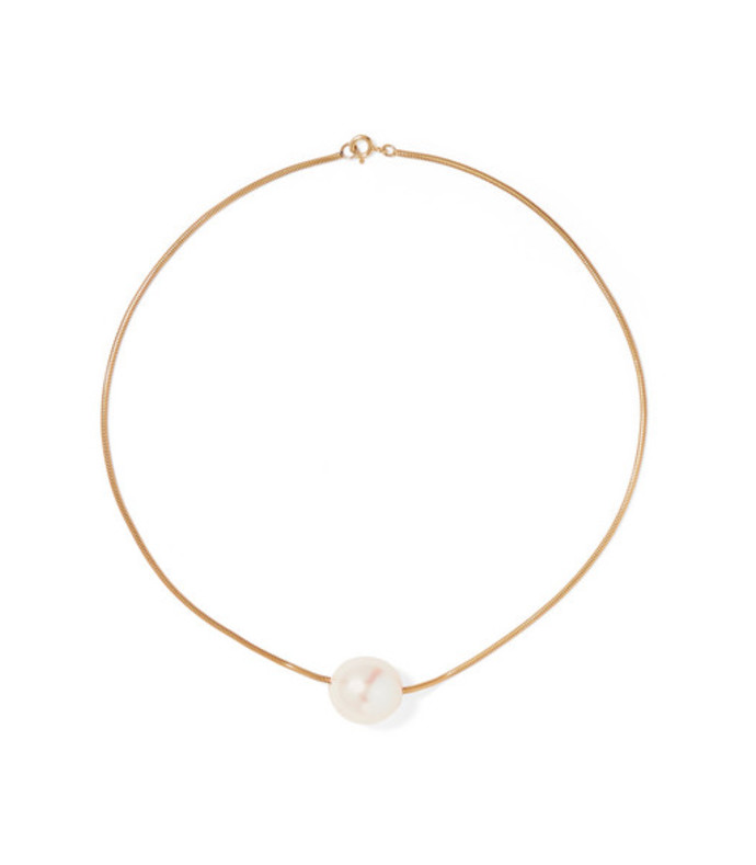 gold vermeil pearl choker