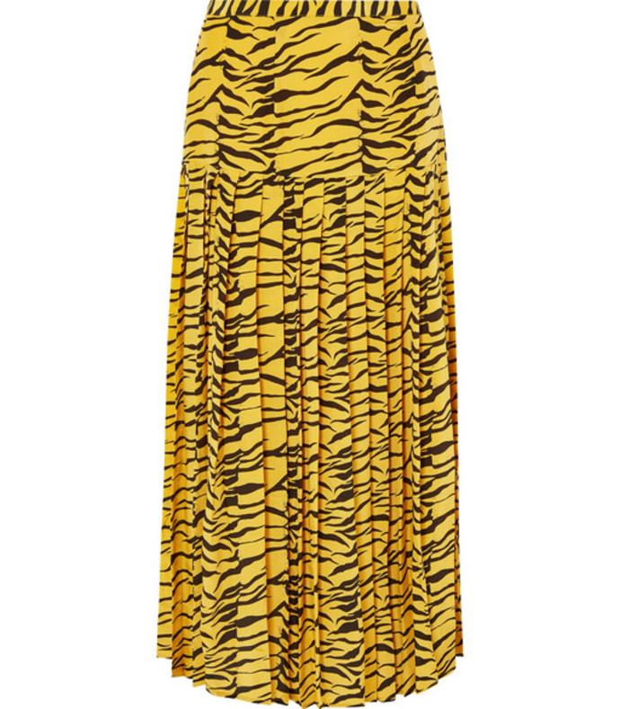 tina pleated tiger-print silk crepe de chine skirt
