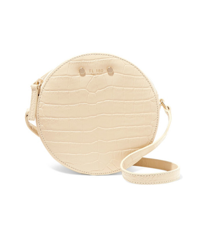 tambour croc-effect leather shoulder bag