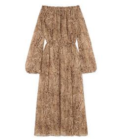 off-the-shoulder snake-print chiffon maxi dress