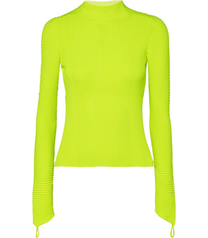 neon ribbed-knit turtleneck top