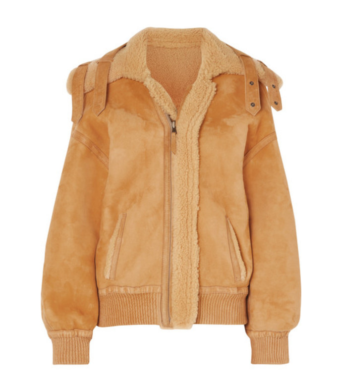 reversible leather-trimmed suede and shearling jacket
