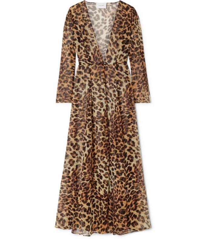 leopard-print silk-chiffon robe