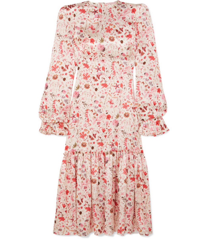 ruffled floral-print hammered silk-satin midi dress