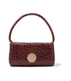 baguette croc-effect leather shoulder bag