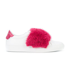 fuschia fur strap sneakers