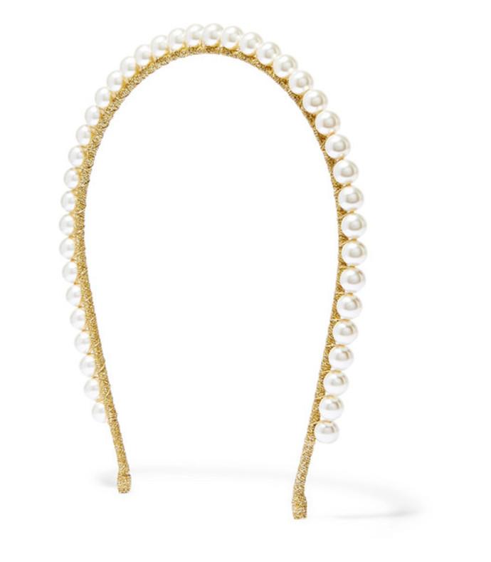brinn gold-tone swarovski pearl headband