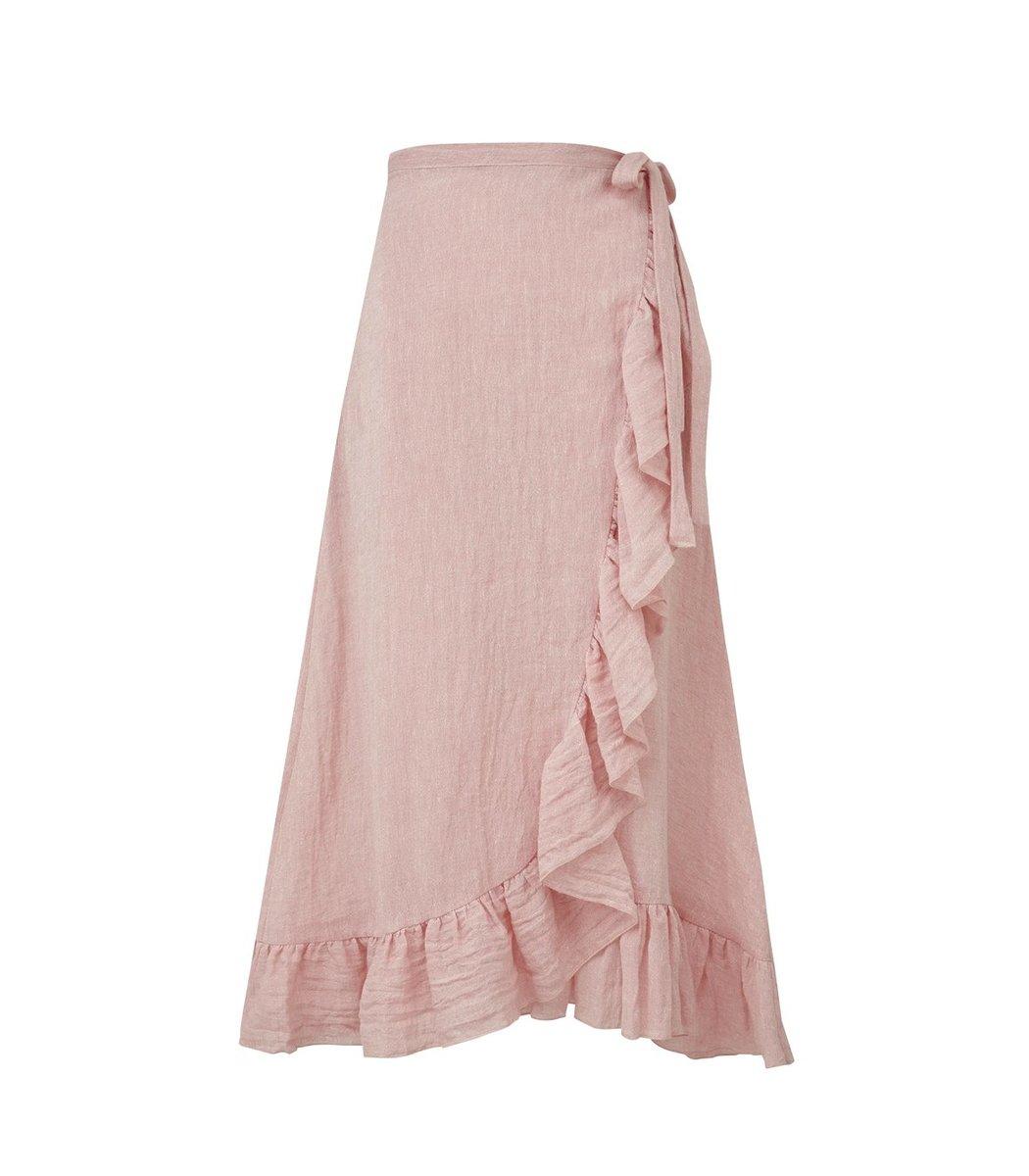 Lisa Marie Fernandez Ruffle Wrap Skirt in Pink