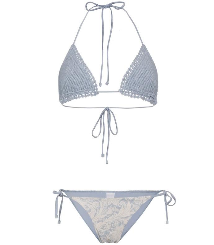 blue/white crochet bikini