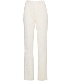 white lace straight leg trousers