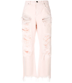 pink rival with destroyed jeans