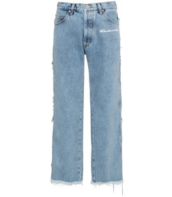 blue mid-rise straight-leg frayed jeans
