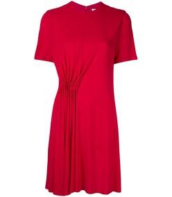 red gathered jersey dress
