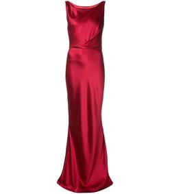 red long slim-fit dress