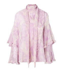 pink/white ruffled cotton and silk-blend crepon blouse