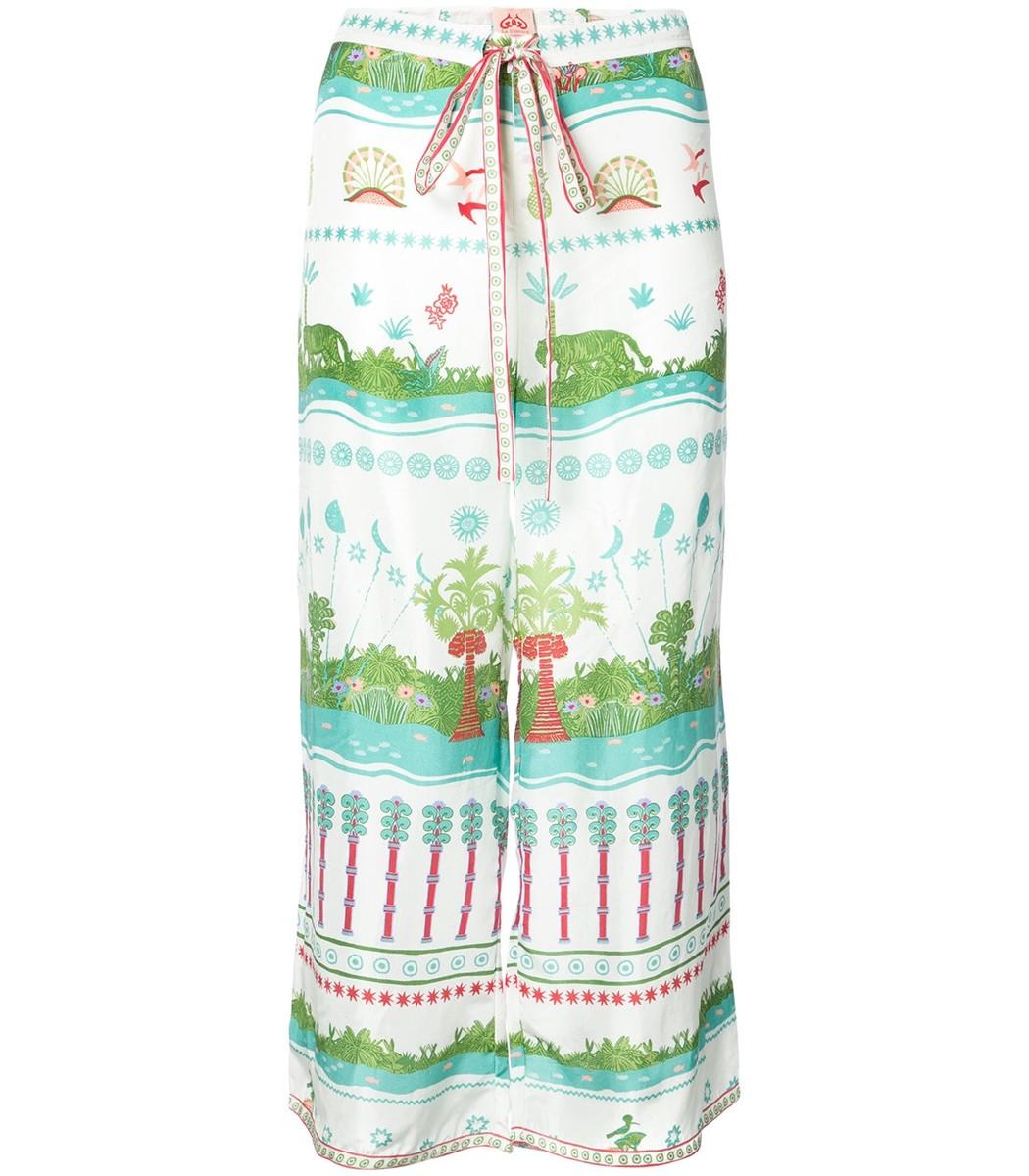 LE SIRENUSE Multicolor Printed Wide Leg Silk Trousers