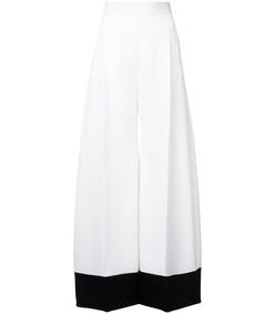 contrast cuff wide leg trouser