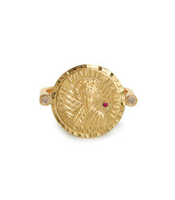 louise d'or 18kt gold diamond and ruby ring