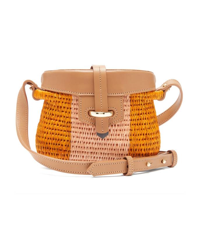 jabu leather-trimmed mini basket bag