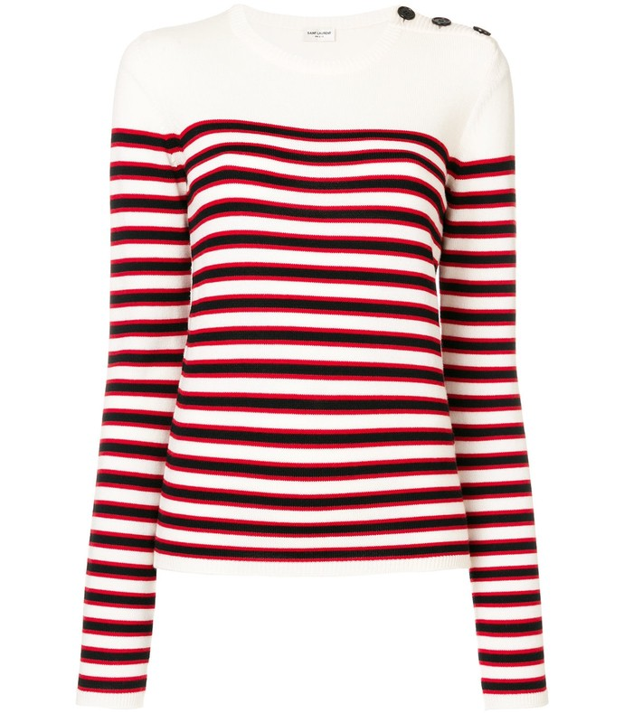 white multicolor striped fitted sweater