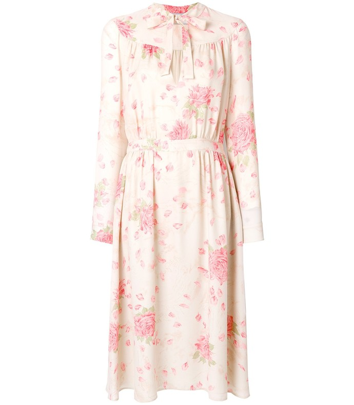 pink/beige rose print silk midi dress