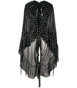 black ruffled polka dot cape