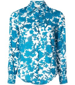 blue white floral print cotton shirt