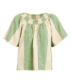 marisol ruched-neck cotton top