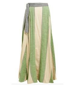 sangria striped cotton wrap skirt
